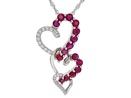 Photo of 1.79ctw Burmese Ruby And .26ctw White Zircon Rhodium Over Silver Triple Heart Pendant With Chain