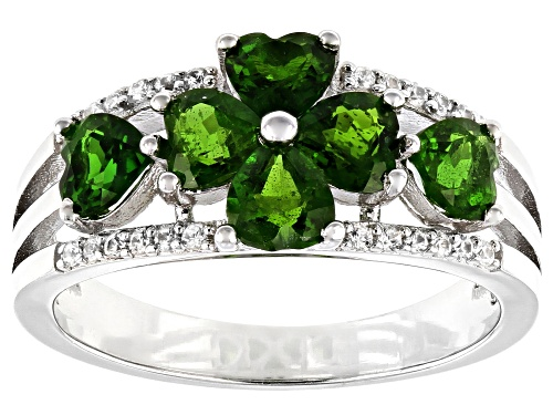 Photo of 1.43ctw Heart Shape Chrome Diopside With .10ctw White Zircon Rhodium Over Silver Clover Band Ring - Size 8