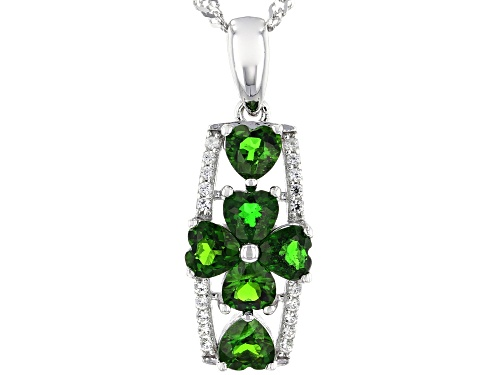 Photo of 1.43ctw Heart Shape Chrome Diopside & .07ctw White Zircon Rhodium Over Silver Clover Pendant W/Chain
