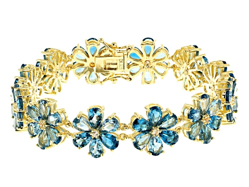 Photo of 32.45ctw Pear Shape London Blue Topaz & .30ctw Round White Topaz 18k Gold Over Silver Bracelet - Size 8