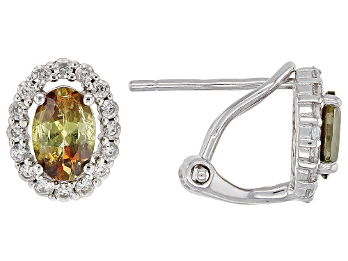 Photo of .76ctw Oval Andalusite With .35ctw Round White Zircon Rhodium Over Sterling Silver Earrings