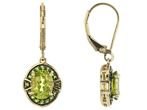 Photo of 2.31ctw Oval Manchurian Peridot™ with .19ctw Russian Chrome Diopside 18k Gold Over Silver earrings