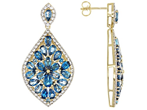 Photo of 9.95ctw London Blue Topaz with 2.14ctw White Zircon 18k Gold Over Silver Cluster Dangle Earrings