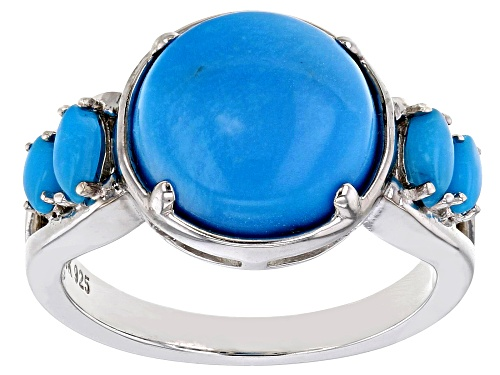 Photo of 11mm Round & Marquise Cabochon Sleeping Beauty Turquoise Rhodium Over Sterling Silver Ring - Size 8