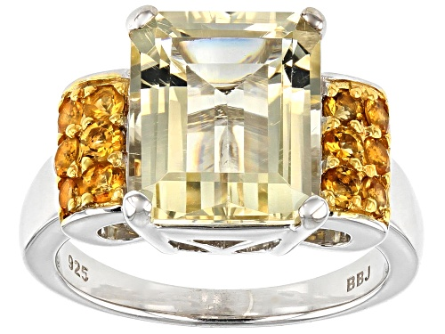 Photo of 4.74CT EMERALD CUT YELLOW LABRADORITE WITH .41CTW CITRINE RHODIUM OVER STERLING SILVER RING - Size 8
