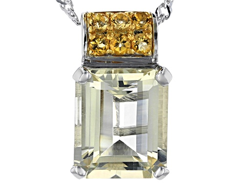 Photo of 4.74CT EMERALD CUT YELLOW LABRADORITE WITH .20CTW CITRINE RHODIUM OVER  SILVER PENDANT WITH CHAIN