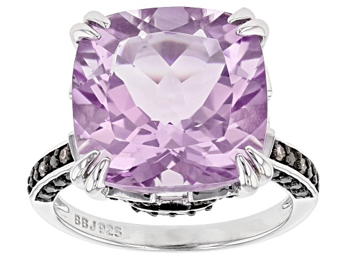 Photo of 6.59ct Lavender Amethyst with .03ctw Champagne Diamond Accent Rhodium Over Sterling Silver Ring - Size 8