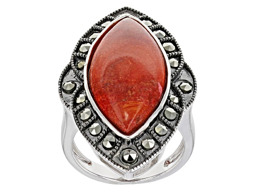 Photo of 25x12mm Marquise Red Sponge Coral with Round Marcasite Rhodium Over Silver Ring - Size 7