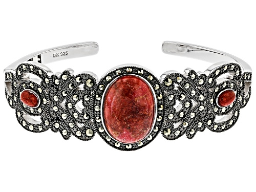 Photo of 18x13mm & 6x4mm Oval Sponge Coral With Marcasite Rhodium Over Sterling Silver Cuff Bracelet - Size 8