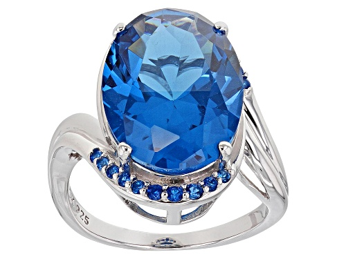 Photo of 8.60ct Oval & .39ctw Round Lab Created Blue Spinel Rhodium Over Sterling Silver Ring - Size 7