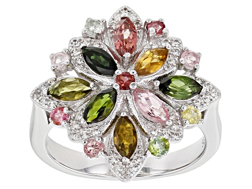 Photo of 1.26ctw Marquise & Round Multi-Tourmaline With .17ctw Zircon Rhodium Over Silver Flower Ring - Size 8