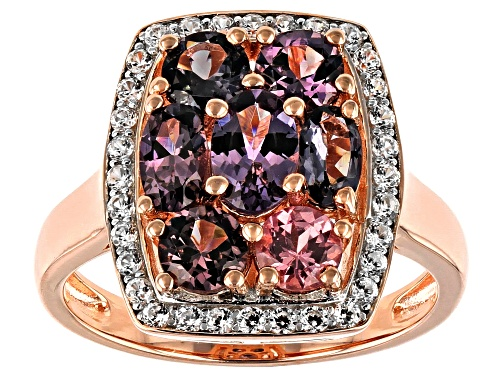 Photo of .93ctw Oval & .95ctw Round Multi-Spinel With .41ctw Zircon 18k Rose Gold Over Silver Ring - Size 7