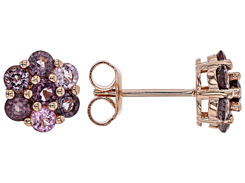 Photo of 1.67ctw Round Multi-Color Spinel 18k Rose Gold Over Sterling Silver Floral Stud Earrings