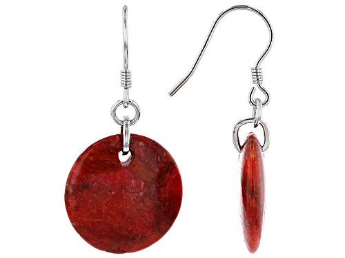 Photo of 18mm Round Sponge Coral Rhodium Over Sterling Silver Dangle Earrings
