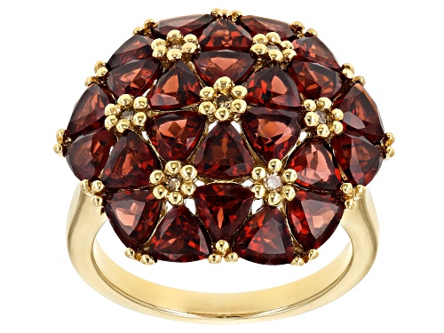Photo of 6.12CTW VERMELHO GARNET(TM) WITH .06CTW CHAMPAGNE DIAMOND ACCENT 18K GOLD OVER SILVER RING - Size 7