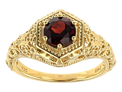 Photo of .92CT ROUND VERMELHO GARNET(TM) 18K YELLOW GOLD OVER STERLING SILVER RING - Size 7