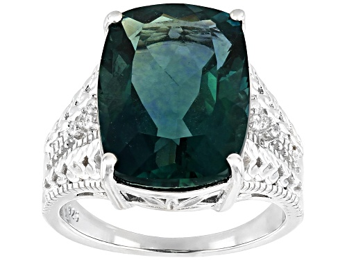 Photo of 11.17ct Rectangular Cushion Teal Fluorite & .10ctw Zircon Rhodium Over Silver Ring - Size 7