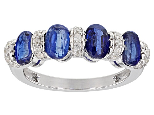 Photo of 2.18ctw Oval Blue Kyanite With .25ctw Round White Zircon Rhodium Over Silver Band Ring - Size 7