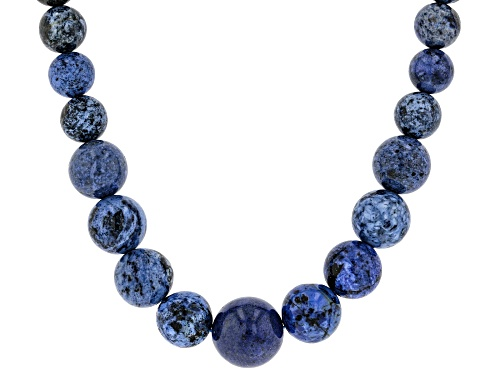 4-12mm Round Dumortierite Rhodium Over Sterling Silver Graduated Bead Necklace - Size 18