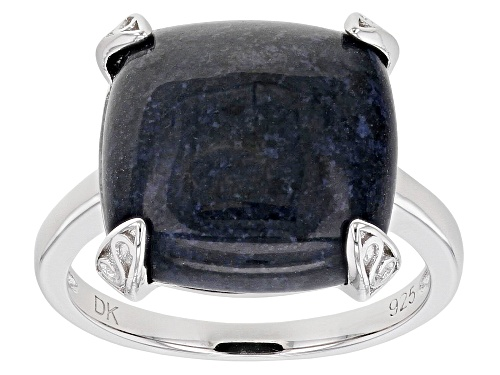 Photo of 14mm Square Cushion Dumortierite Rhodium Over Sterling Silver Solitaire Ring - Size 7