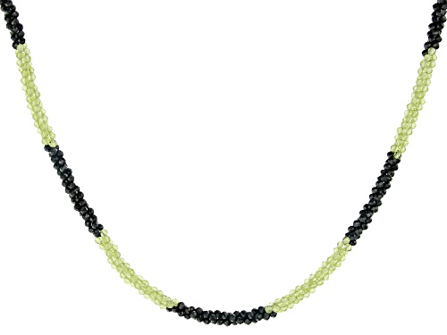 Rondelle Black Spinel and Manchurian Peridot™ Rhodium Over Sterling Silver Bead Necklace - Size 20