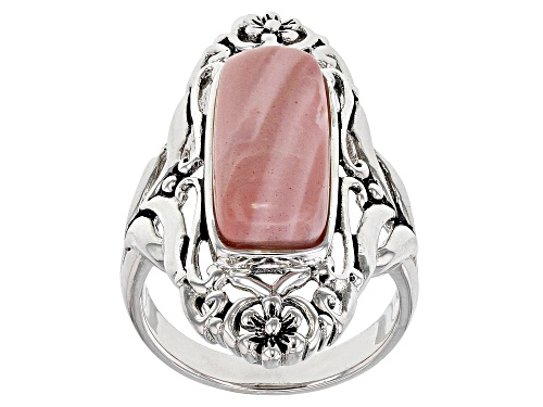 Photo of 18x7mm Rectangular Cushion Pink Mookaite Sterling Silver Solitaire Ring - Size 7