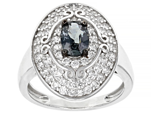 Photo of .76ct Oval Platinum Color Spinel with 1.16ctw Round White Zircon Rhodium Over Sterling Silver Ring - Size 8