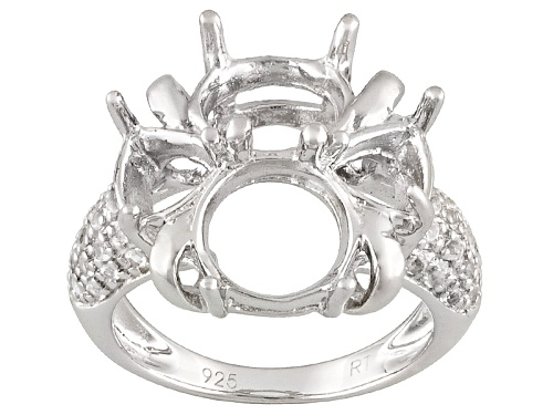 Photo of Gemsavvy Trenditions™9mm Round And 6mm Trillion With .41ctw Round White Topaz Semi Mount Ring