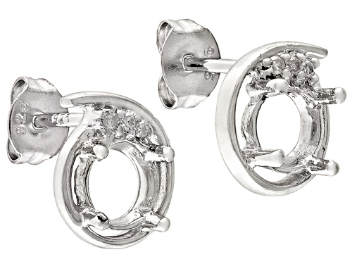 Photo of Gemsavvy Nostalgia™6mm Round And .02ctw Round White Diamond Sterling Silver Semi Mount Earrings