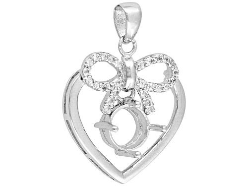Photo of Gemsavvy Sentiments™8mm Rd W/.42ctw Rd Wht Topaz Bow&Heart Rhodium Over Sterling Semi Mnt Pendant