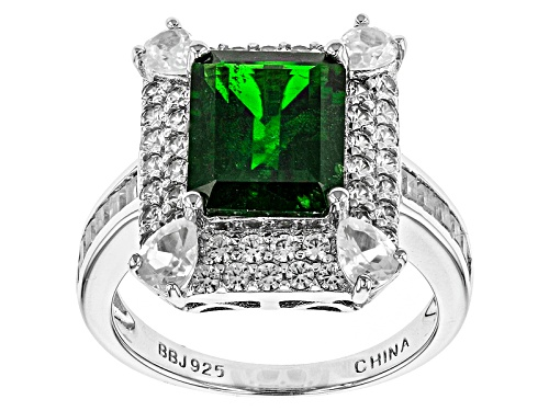 Photo of 2.72ct Emerald Cut Russian Chrome Diopside, 2.25ctw White Zircon Silver Ring - Size 12