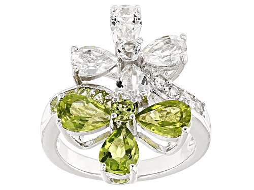 2.38ctw Manchurian Peridot™ And 2.27ctw White Topaz Sterling Silver Floral Bypass Ring - Size 6