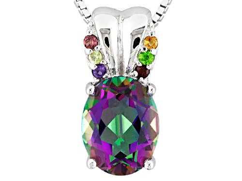 Photo of 1.32ct Oval Brazilian Multicolor Quartz With .06ctw Multi-Gem Silver Pendant With Chain