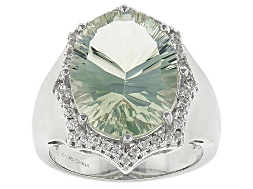 Photo of 8.33ct Oval Prasiolite And .17ctw Round White Zircon Sterling Silver Ring - Size 6