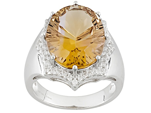 Photo of 8.33ct Oval Champagne Quartz And .17ctw Round White Zircon Sterling Silver Ring - Size 6