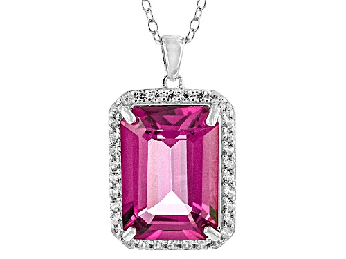 Photo of 7.60ct Emerald Cut Pink Topaz And .49ctw Round White Zircon Sterling Silver Pendant With Chain