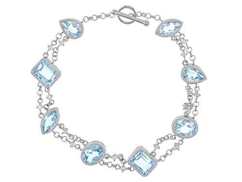 Photo of 13.77ctw Glacier Topaz™ And .48ctw Round White Zircon Sterling Silver Bracelet - Size 7.25
