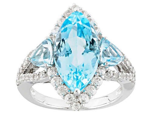 Photo of 5.53ctw Marquise And Trillion Glacier Topaz™ With .86ctw Round White Zircon Sterling Silver Ring - Size 8