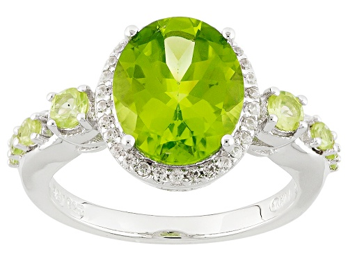 Photo of 3.53ctw Oval And Round Manchurian Peridot™ With .19ctw Round White Zircon Sterling Silver Ring - Size 7