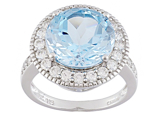 Photo of 7.23ct Round Glacier Topaz™ With .83ctw Round White Zircon Sterling Silver Ring - Size 11