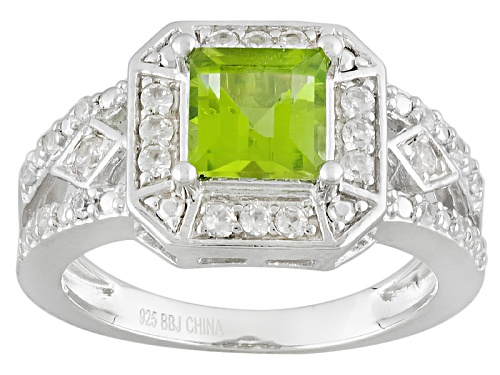 Photo of .97ct Square Manchurian Peridot™ With .60ctw Round White Zircon Sterling Silver Ring - Size 11