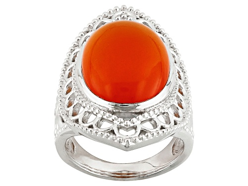 Photo of 18x13mm Oval Orange Carnelian Cabochon Sterling  Solitaire Silver Ring - Size 5
