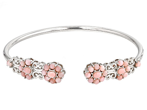 Photo of 4x3mm Oval And 3mm Round Peruvian Pink Opal Sterling Silver Bangle Bracelet - Size 8