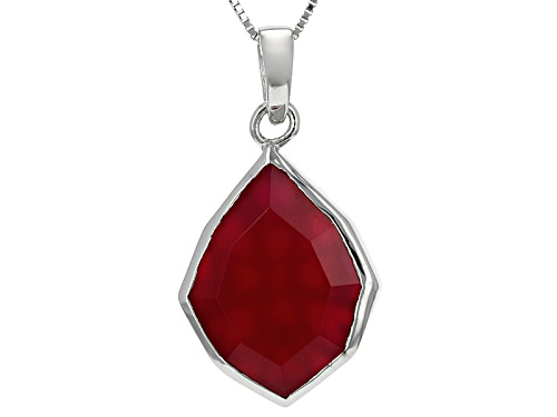 Photo of 20x16mm Fancy Cut Magenta Onyx Sterling Silver Pendant With Chain