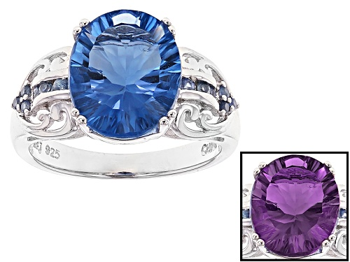 Photo of 4.42ct Oval Color Change Blue Fluorite With .21ctw Round Blue Sapphire Sterling Silver Ring - Size 12