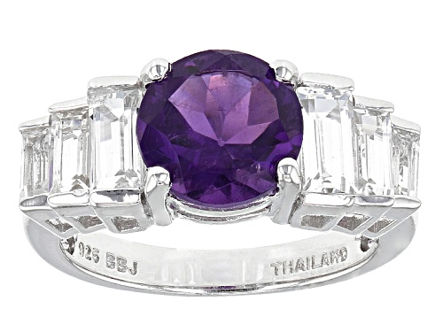 Photo of 1.91ct Round African Amethyst With 1.55ctw Baguette White Topaz Sterling Silver Ring - Size 7