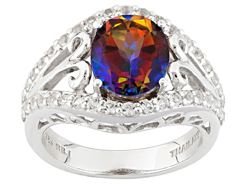 Photo of 2.37ct Oval Cosmopolitan Beyond™ Mystic Topaz®And .61ctw Round White Topaz Sterling Silver Ring - Size 5