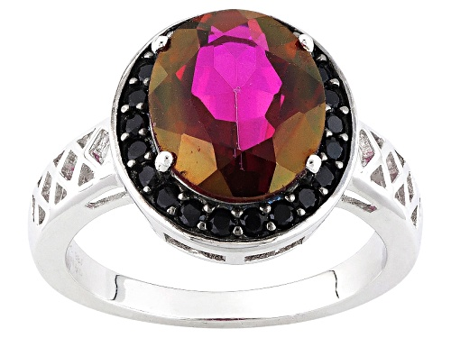 Photo of 3.84ct Oval Peony™ Mystic Topaz® With .26ctw Round Black Spinel Sterling Silver Ring - Size 12