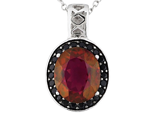 Photo of 3.91ct Oval Peony™ Topaz With .26ctw Round Black Spinel Sterling Silver Pendant With Chain