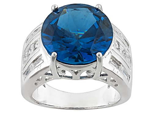 Photo of 7.65ct Round Lab Created Blue Spinel With 1.58ctw Square & Baguette White Topaz Sterling Silver Ring - Size 6